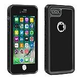 Eonfine-正規品 iPhone 7 Plus 用 防水ケース 100%防水 クリアな音質 アイフォン7プラスケース 防水 防塵 耐衝撃 完全防水 防雪 耐震 落下防止 IP68 指紋認証対応 個性的 7plusカバー ブラック