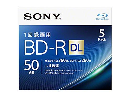 SONY ビデオ用ブルーレイディスク 5BNR2VJPS4(BD-R 2層:4倍速 5枚パック)