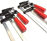 F型 クランプ 強力 固定 木材工作 木工 溶接 作業 用 50mm × 200mm 4本 セット メンテナンス シート 付き (4本)