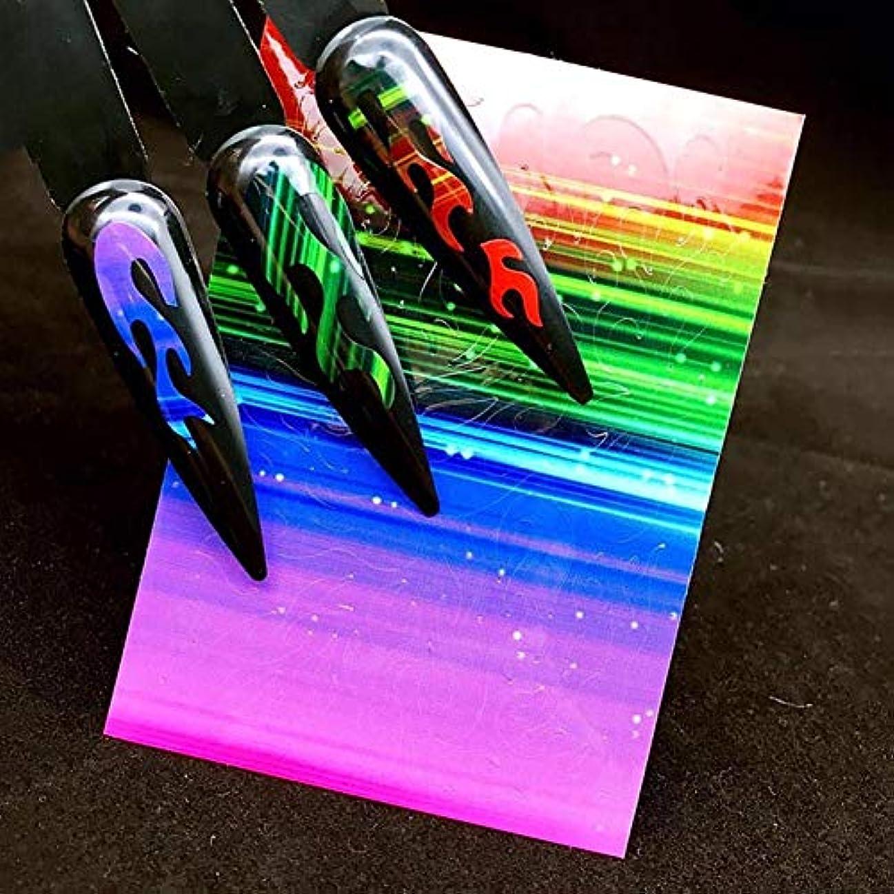 Murakush ネイルステッカー レーザー接着 ステッカー 炎パターン オーロラ マニキュア装飾 ネイルアート デカールツール 4#
