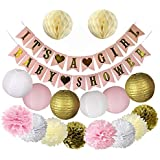 ピンクとゴールドのベビーシャワーデコレーション、girl- It 's A Girlベビーシャワー&ガーランドバナー、提灯と花by Happy Hour 。パーティーSupplies