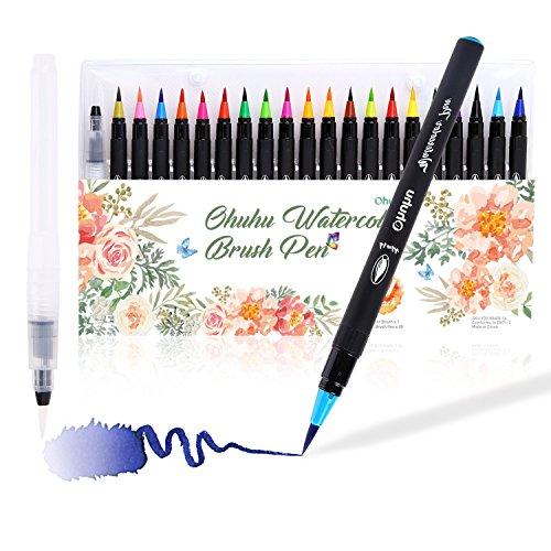 Ohuhu 水彩毛筆 20色セット 水性 水彩筆 筆ペン カラ...