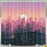 Kangenze シャワーカーテン Abstract City Cityscape Digital Art Landscape Pixel Art Sun Cool Bathroom Curtains 150cm×180cm