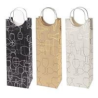 Revel Paper 0346 Silhouette Single Bottle Kraft Paper Wine Bag, Black/Gold/Silver [並行輸入品]