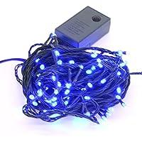 【ブルー】イルミネーションLEDライト クリスマスライト 100球 点灯パターン記憶メモリー付 防雨仕様 連結可 8パターン点灯?コントローラ付