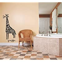 Design with Vinyl Deer 221 Giraffe Animal Zoo Circus African Wild Safari Animal Boy Girl Children Kids Playroom Daycare Classroom Home Decor Picture Art Decals & Stickers, 10 x 40, Black by Design with Vinyl