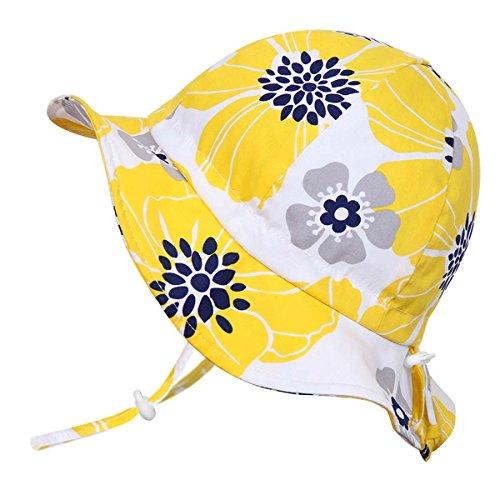 赤ちゃん用 50+ UPF 日光予防帽子 Sun hat、サイズの調整可能、チン・ストラップ付き(S: 0-9ヶ月, 黄色の花)