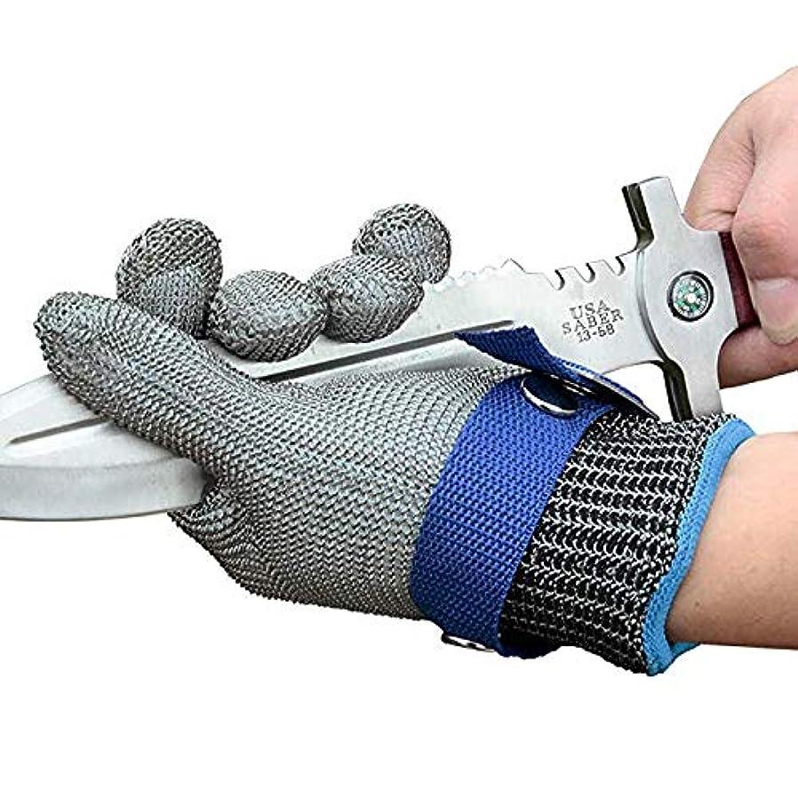 チップたるみ無一文レベル9耐切断性手袋ステンレスメッシュ金属ワイヤグローブ耐久性に優れた防錆信頼ブッチャーグローブ,S