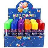 楽しいパーティー用ストリーマー スプレーストリング 缶入り 24個パック 子供のパーティーに パーティー用品 子供のパーティーやイベントに最適