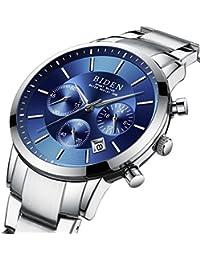 腕時計、メンズ腕時計、高級ビジネスステンレス鋼青高品質ファッションカジュアル防水クォーツ時計 (ブルー)
