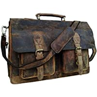 """TUZECH 18"""" Inch Genuine Retro Buffalo Hunter Leather Laptop Messenger Bag Office Briefcase College Bag Leather Bag for Men and Women"""
