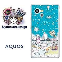 スカラー scr50017 スマホケース スマホカバー SHV33 シャープ SHARP AQUOS SERIE mini アクオス メルヘン パンダ バルーン 水色 かわいい ファッションブランド