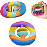 XiXianXin 2Pcs Rainbow Fidget Snappers Toy Silicone Fidget Sensory Toys Autism Needs Stress Reliever for Kids and Adults