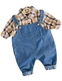 2a57fbc45c77b5 [ミートン] 子供服 セットアップ シャツ サロペット パンツ 上下 2点セット 女の子 男の子 長袖