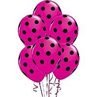 ドット柄バルーン11 inプレミアムベリー(ホット) ピンクwith手織り印刷ブラックドットPkg/12