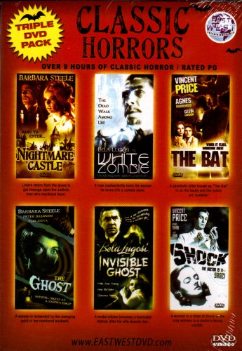 """CLASSIC HORRORS""""Triple DVD Pack and double feaure""""[6 Classic Tales Of Fright]""""Nightmare Castle+White Zombie+The Bat+The Ghost+The Invisible Ghost+Shock"""""""