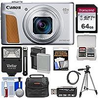 Canon PowerShot SX740 HS Wi-Fi デジタルカメラ (シルバー) 64GB カード+バッテリー&充電器+ケース+三脚+フラッシュ+キット