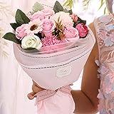 ソープフラワー 母の日 花 Minbau 枯れない 花 ギフト 花束 ボックス バラ 石鹸 フラワー お祝い 誕生日 記念日 女性 先生の日 敬老の日 バレンタインデー 昇進など プレゼント (ピンク)
