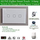 Smart ZigBee 3 Gang AU/NZ Standard Light Switch for Wireless Home Automation Google Home Amazon Echo Dot Echo Plus Alexa Voice Lighting Control
