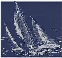 York Prepasted壁紙ボーダー - 海スケッチダークグレーブルー航海ウォールボーダーレトロなデザイン、ロール15フィートでセイルボート。 X 9で。