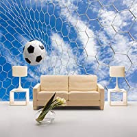 Ljunj 3D壁画壁紙モダンフレスコスポーツサッカーリビングルームの寝室のテレビの背景写真の壁紙青空白い雲-400X280Cm