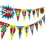 スーパーヒーロー ハッピーバースデー ペーパーバナー 両面プリント パーティーデコレーション ペナント
