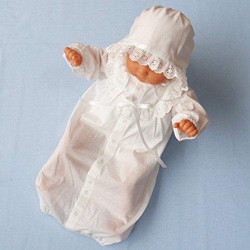 日本製 夏物素材 新生児ベビードレス お宮参り退院時におすすめ お帽子付き2点セット 36507