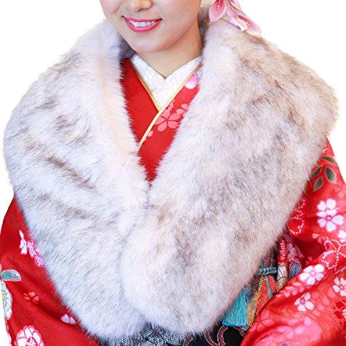 (キョウエツ) KYOETSU 成人式 振袖 ショール ファー フェイクファー 白/銀/黒 08 (08.銀)