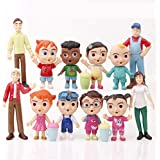 ROPALIA 12pcs Pack Cocomelon Family & Friend Action Figure Play Set Kids Toy Cake Toppers Birthday Xmas Gift
