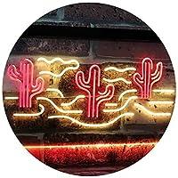 Cactus Desert Garage Man Cave Game Room Dual LED看板 ネオンプレート サイン 標識 Red & Yellow 300 x 210 mm st6s32-i3102-ry