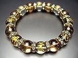 石街 梵字 金彫り 水晶 ブレスレット 十二支御守り本尊 天然石 ゴールデンアクアオーラ 12mm 数珠 (約195ミリ)