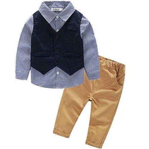 VIYOR ベビー 男の子フォーマル スーツ ベスト付き 発表会 七五三 結婚式 出産祝い 3点セット 100cm
