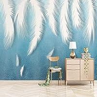 Lcsyp カスタム写真壁紙現代の3Dホワイトフェザー背景壁絵画リビングルームテレビソファ寝室アート家の装飾3D壁壁画-250X175CM