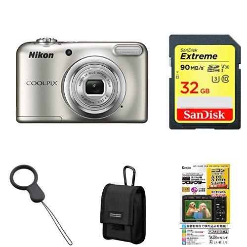 Nikon デジタルカメラ COOLPIX A10 シルバー 光学5倍ズーム 1614万画素 【乾電池タイプ】 A10SL + アクセサリー4点セット(SDカード 32GB、カメラケース、液晶保護フィルム、ストラップ)