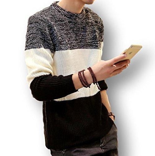 秋 冬 あったか 防寒 3色 ボーダー セーター メンズ Ⅿ Ⅼ XL 黒 白 赤 紺 ブラック ホワイト レッド ネイビー (L, ブラック)