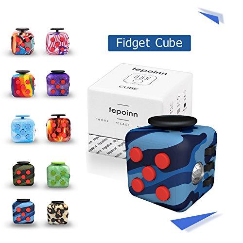 Tepoinn Fidget Cube フィジェットキューブ フィジェットトイ ストレス解消キューブ 品質保証 不安解消 キューブ 緊張解消キューブ 減圧多機能手持ちおもちゃ 焦り緩和 落ち着き 集中力を高める 気分転換キューブ 情緒調節 手遊びポケットゲーム ABS樹脂 男女老若用 プレゼント クリスマスギフト