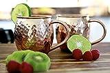Hammeredと手作り100% Pure Copper Moscow Muleマグカップ、2のセットマグカップ+ 2Coaters + 2ストロー+ 1ショットガラス