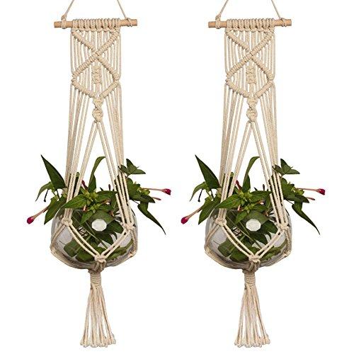 プラントハンガー糸 プラントハンガークランプ 観葉植物 プランターハンガー 鉢 吊るす マクラメ 麻縄 植木鉢 植物ハンガーネット インテリア 鉢 (C)