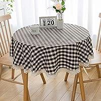 テーブルクロス 北欧 おしゃれ 綿麻 長方形 140×200cm テーブルカバー チェック柄 レース付 シンプル 食卓カバー 防塵 耐熱 ナチュラル 雰囲気 新築お祝い 贈り物