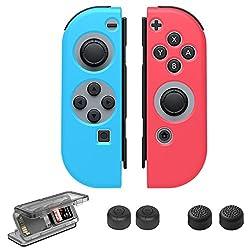 Nintendo Switch Joy-Con ケース, Taken ニンテンドー スイッチ専用ケース シリコン ケース 保護カバー シリコンケース (L)ネオンブルー   (R)ネオンレッド カセット ボックス