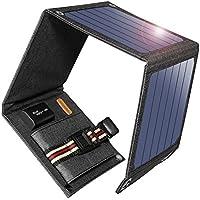 suaoki ソーラーチャージャー 14W ソーラーパネル 4枚搭載 折りたたみ式 USB自動検知機能搭載 軽量 コンパクト ポータブル アウトドア 防災 非常用時 スマホなどへ充電