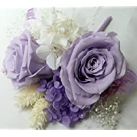 845【コサージュ】【結婚式、入学式、卒業式】プリザーブド バラ ライラック2輪