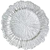 Tiger Chef Silver Charger Plates - Plate Chargers for Dinner Plates - Wedding Décor Place-mats (6, Silver Reef)