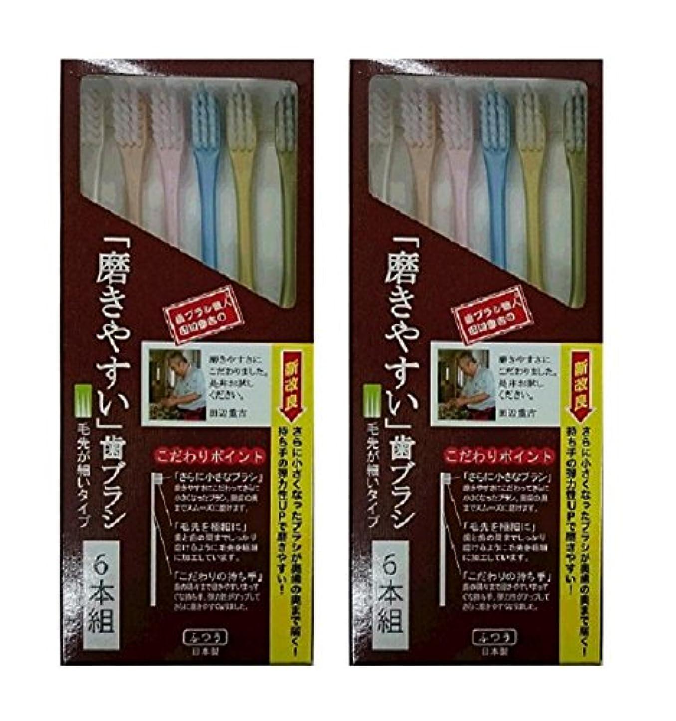 買い物に行く民間人食堂歯ブラシ職人 田辺重吉考案 磨きやすい歯ブラシ 先細 6本組×2個セット