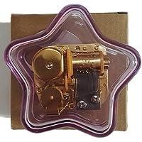 クリエイティブWind - Upアクリルプラスチック透明音楽ボックスwithメッキ。動きで、様々な形状ミュージカルボックス、Yesterday Once More Five-pointed Star Purple パープル