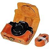 No1accessory XJPT-G5X-09 ブラウン Canon PowerShot G5X 専用 防水 PU レザー 一眼レフ カメラバッグ カメラケース ハンドストラップ