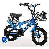 Mariny 子供用自転車12/14/16/18インチユニセックス子供用自転車2?9歳フラッシュトレーニングホイール付きベビーカー (色 : 青, サイズ さいず : 18