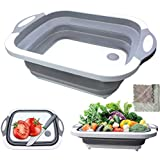 Foldable Cutting Board,Jiadinglimian Collapsible Multi-Function Silicone Washing Tub with Towel,Space Saving 3 in 1 Multifunc