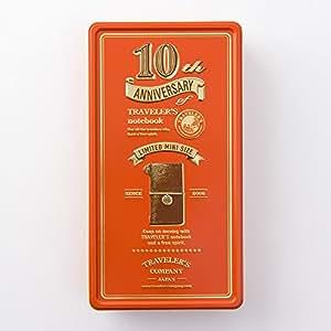 トラベラーズノート Traveler's notebook 10周年缶セット ミニサイズ本体付 茶 15196006