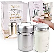 Stainless Steel Yoghurt Maker with 1 Quart Glass Jar and Complete Recipe Book to Make 12+ Easy Homemade Dairy